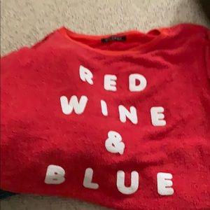Wildfox Red Sweatshirt SZ L Red Wine & Blue